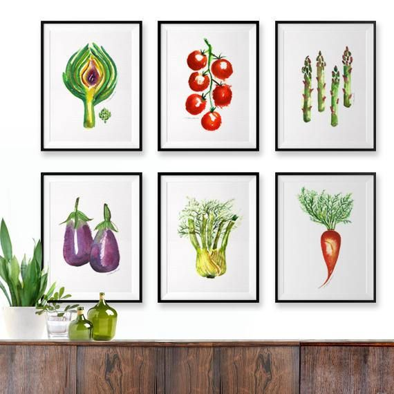 Vegetable Watercolor Painting Colorful Kitchen Wall Art Set Of 6