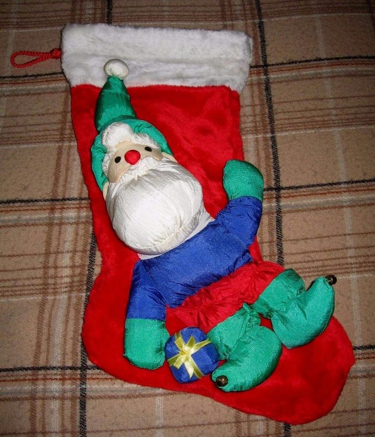 "Vintage SMITHY Elf Christmas Plush Stocking  20"" #Smithy"