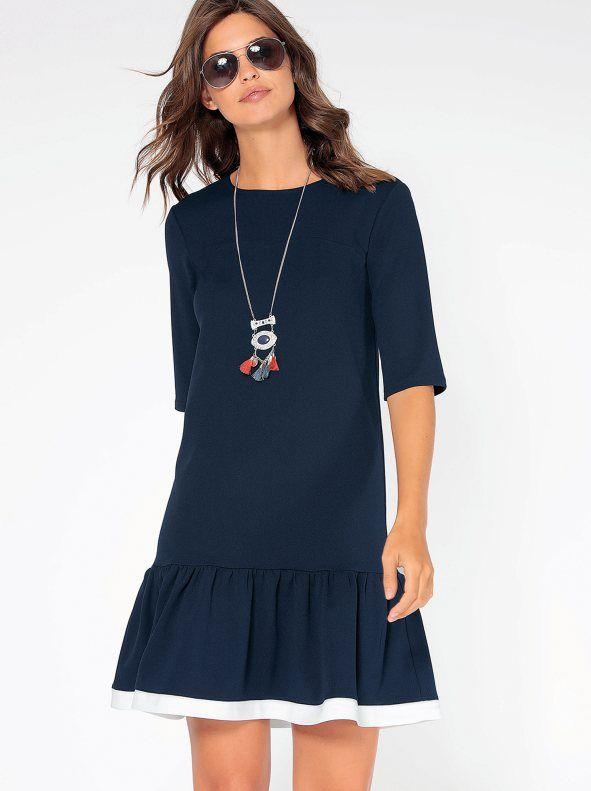 Femenino vestido con original bajo en combinación bicolor perfecto para tus días más marineros. Vestido de escote redondeado y manga al codo. Coqueto canesú - Venca - 140361