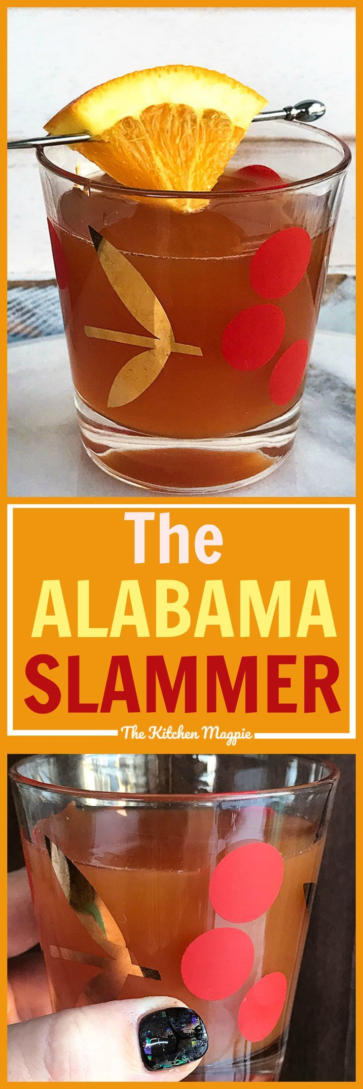 The Alabama Slammer Cocktail! Sweet, tangy and sure to become one of your new favourites! #cocktails #recipes #amaretto #southerncomfort
