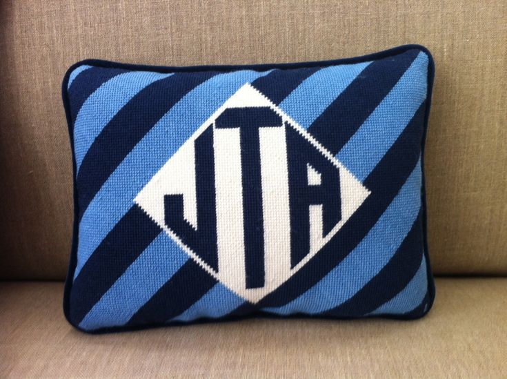monogram needlepoint pillow