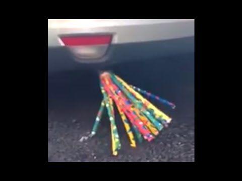 【おバカ実験映像】車のマフラーにピロピロ笛を突っ込んでみた結果ww