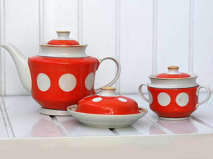 Vintage Ceramic Tea Set - Teapot Sugar Bowl Butter Dish - White and Orange Polka Dot Spots - 1980s - from Russia / Soviet Union / USSR