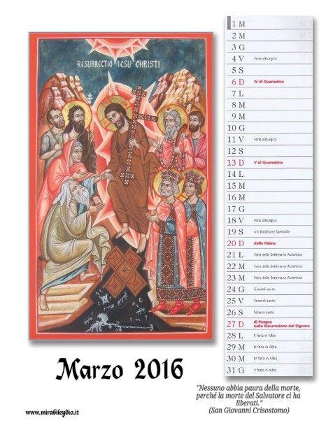 icone sacre-Mirabile Ydio: Calendario di MARZO 2016