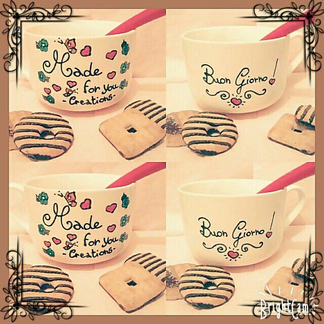 Buongiorno!!! Oggi facciamo colazione con la nostra tazza personalizzata colorata a mano! Che ne pensate?! :) Buona giornata!! #madeforyoucreations #diy #gift #fashion #regalo #momentispeciali #happy  #happyday #bello  #scrapbooking  #handmade #nuovacreazione #newcreation #amico #friend #amore #love #like #goodmorning #buongiorno #buonagiornata #diymug #mug #cup #tazzadiy #tazza #tazzapersonalizzata