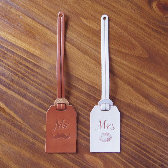 Mr and Mrs Luggage Tag Leather Leather luggage tags by HarLex