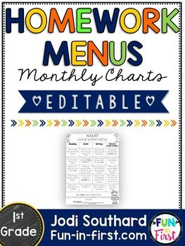 Homework Menus - Monthly Charts- 1st grade - EditableThis Homework Menu packet is the perfect way to give your students choice, but still review all of the skills for the month. The zipped file contains two separate files. The first file is a secured PDF that includes monthly homework calendars that are already done for you.