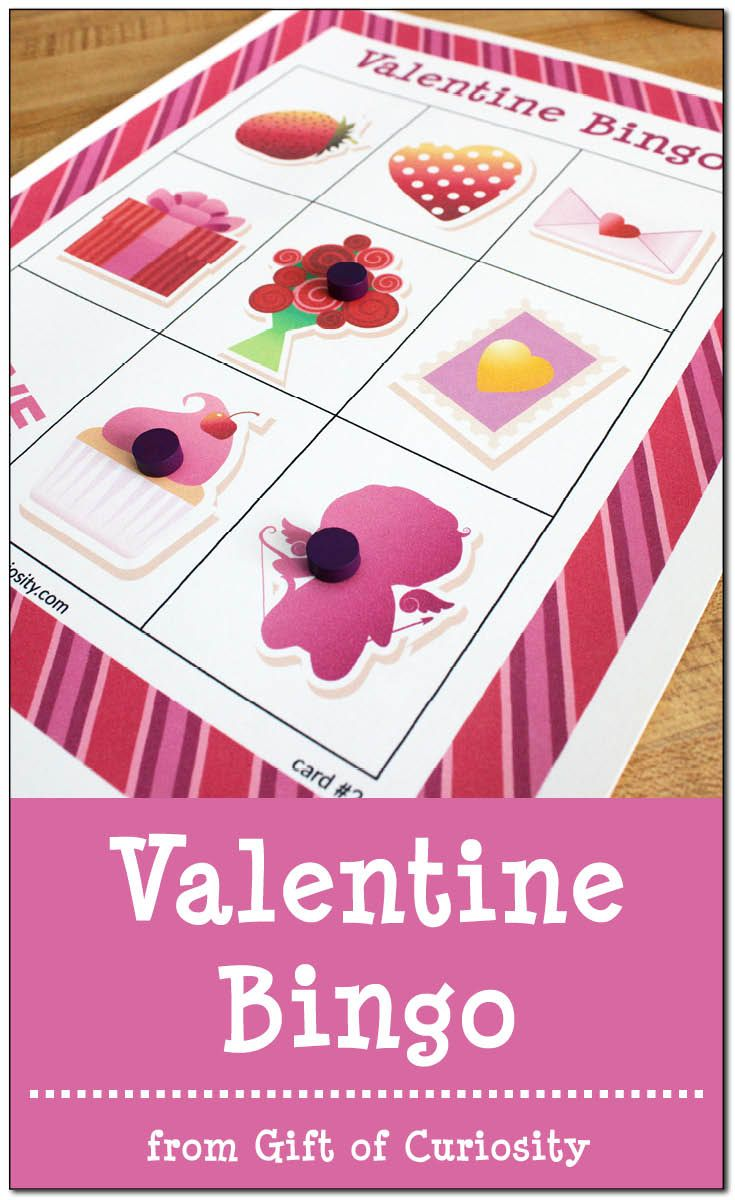 Free printable Valentine Bingo game with 10 different playing cards for hours of Valentine's Day Bingo fun! || Gift of Curiosity