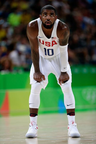 Kyrie Irving of United States looks on during a Men's Preliminary Round Group A…