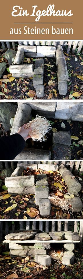 Build a hedgehog house from stones