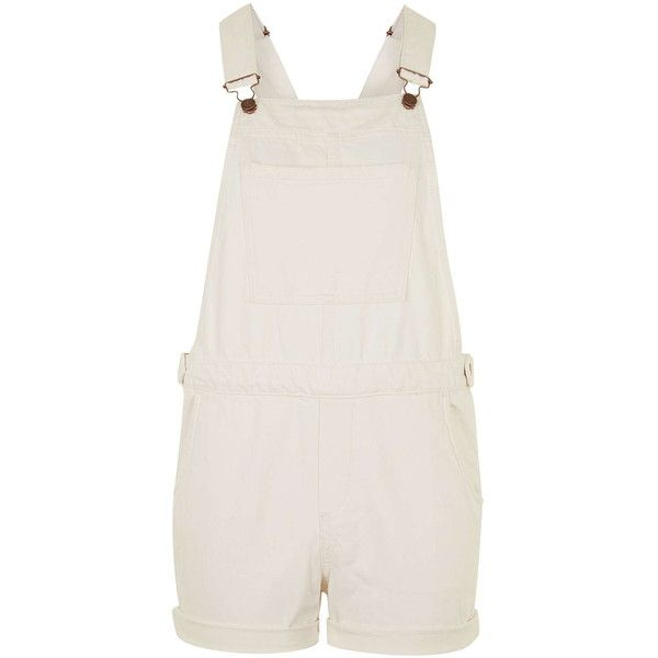 TOPSHOP MOTO Ecru Short Overalls ($35) ❤ liked on Polyvore featuring jumpsuits, rompers, playsuits, topshop, dungarees, overalls, ecru, cotton overalls, topshop romper and shorts overalls