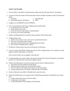 U.S. Constitution Quiz Questions --128 Questions separated by Article  Question banks in Examview format. Teachers can target-teach to portions of the text now that they have access to this ready-to-use resource for history and government classes.  More than 100 different questions -- WOW!