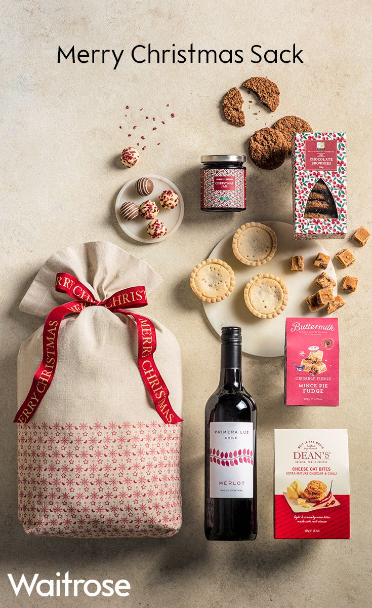Crumbly mince pie fudge, Champagne truffles, a bottle of Merlot and much more stuffed into a festive sack and tied with a red satin ribbon. Check out Waitrose Gifts for more Christmas gifting inspiration.