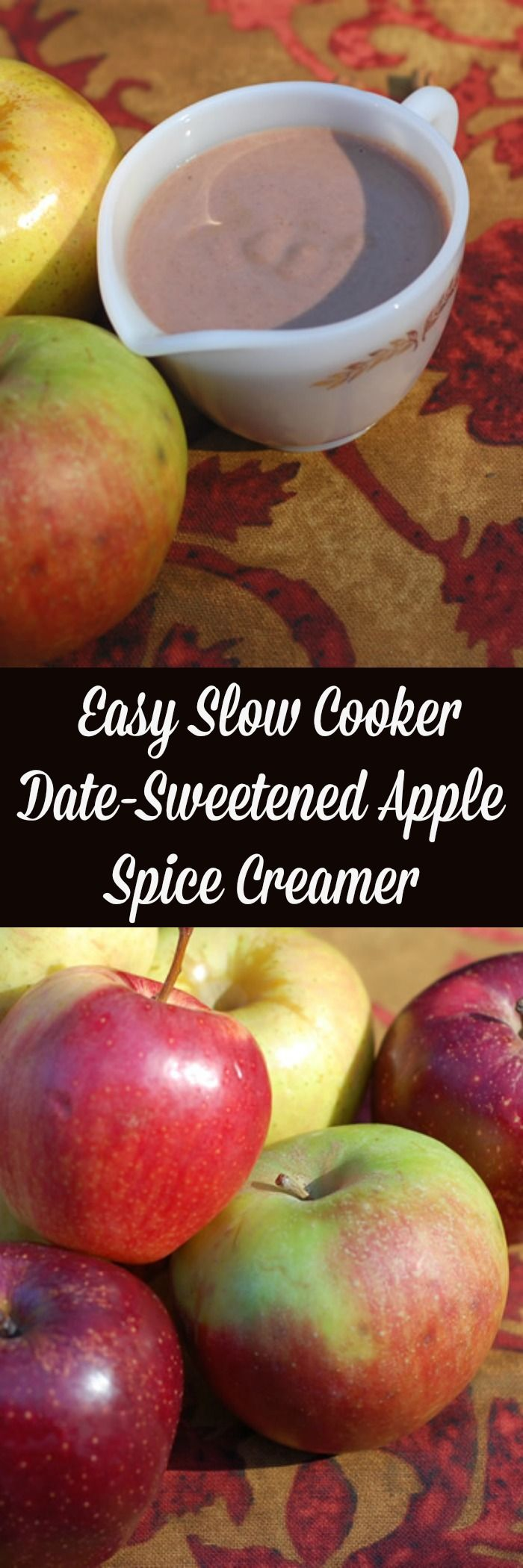 Easy Slow Cooker Date-Sweetened Apple Spice Creamer is just amazing and full of cinnamon and apples, all wrapped up in creamy coconut milk.