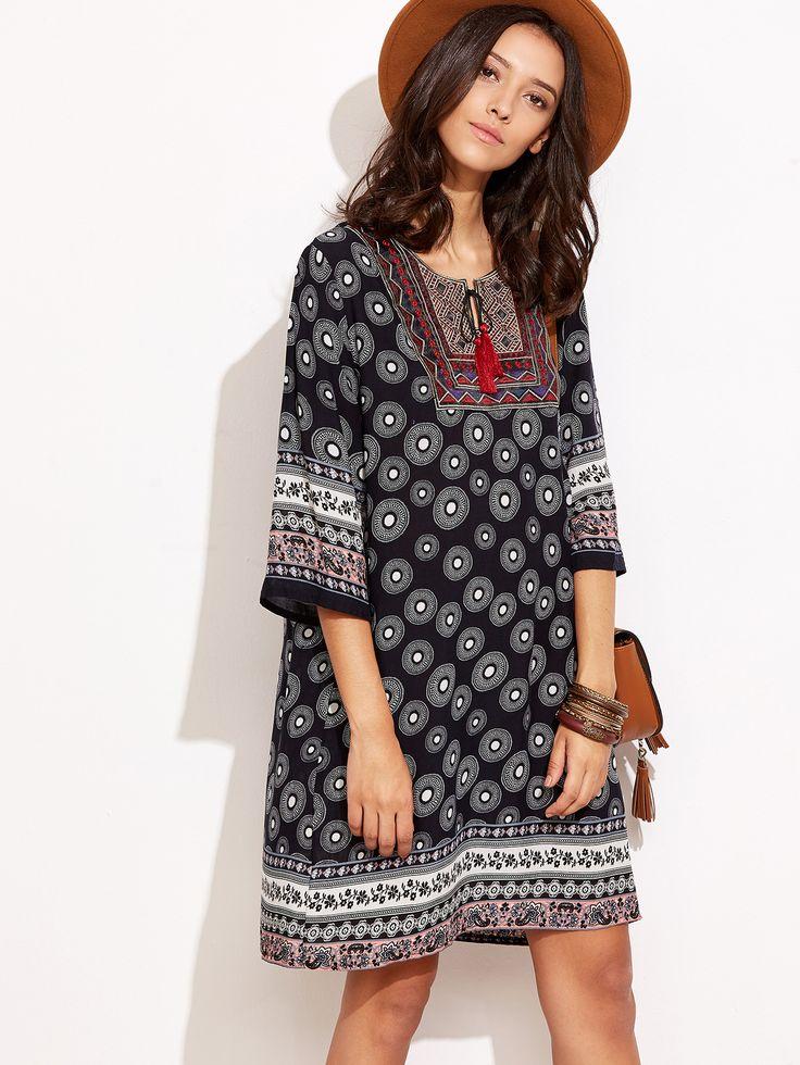 Shop Black Tribal Print Tassel Tie Neck Tunic Dress online. SheIn offers Black Tribal Print Tassel Tie Neck Tunic Dress & more to fit your fashionable needs.