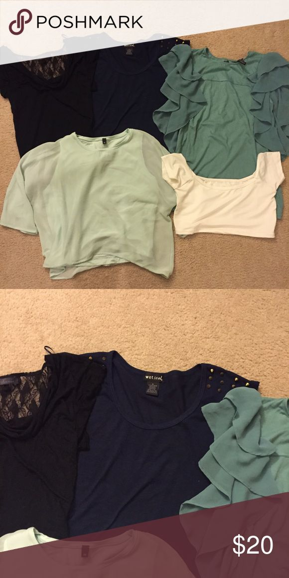 😱 5 TOP BUNDLE - MOVING SALE 😱 *SOLD AS IS: may have minor wear.*  🔹Kalestesia Black Top with cowl neck/back and lace detail Size S 🔹Wet Seal Navy Blue Sleeveless Top with stud shoulder detail Size S 🔹Topshop petrol blue too with frill detail Size UK 10 / US 6 🔹Boutique Mint Green Sheer crop top with cotton same-color too underneath Size M 🔹Boutique White Bardot Bralet/Crop Top Size S  Smoke-free, pet-free house. Topshop Tops