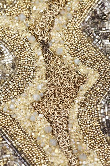 Sterling silver chain, vintage metal and glass seed beads, sterling seed beads, Swarovski® crystals beads, hand embroidered on heavy silk with a hammered sterli