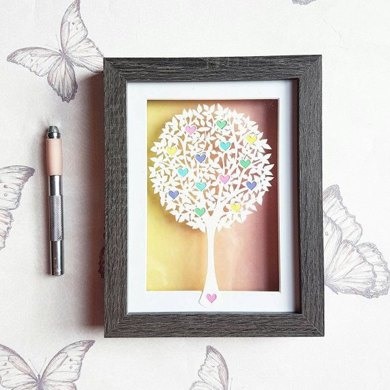Tree full of love framed paper cut design by by Rocarosepaper1