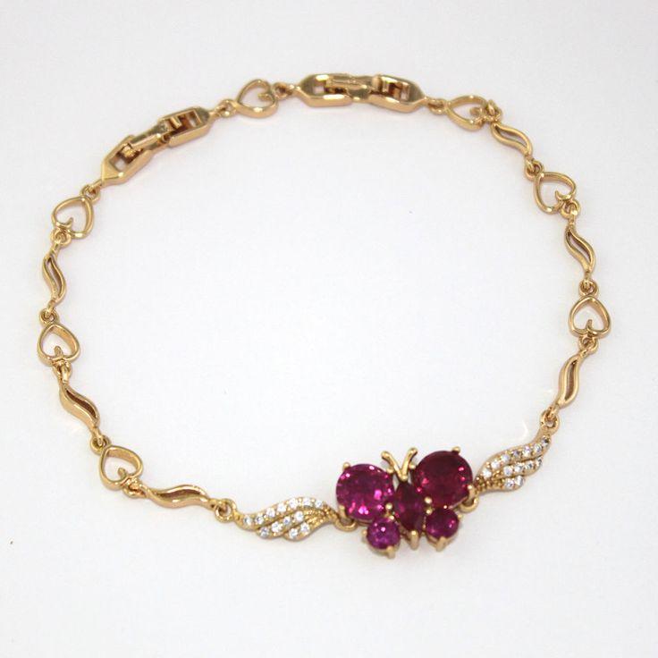 "14k Gold Filled Bracelet Pink Butterfly Gem & Rhinestones 8.5"" Adult Pulsera Oro #pulserasdemoda #pulsera #goldfilledchain #goldfilledjewelry #goldfilledjewelry #Azabache #turkisheye #evileyebracelet #evileyes #reikijewelry #yogajewerly #yogajewellery #spiritualjewelry #mysticaljewelry #protectionamulet #protectionjewelry #luckycharms"