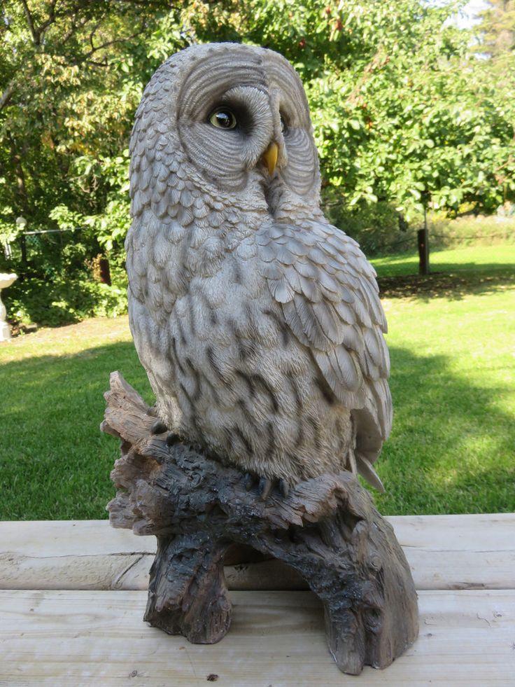 Great Grey Gray Owl Figurine On Tree Stump Garden Statue 20.5 Inches