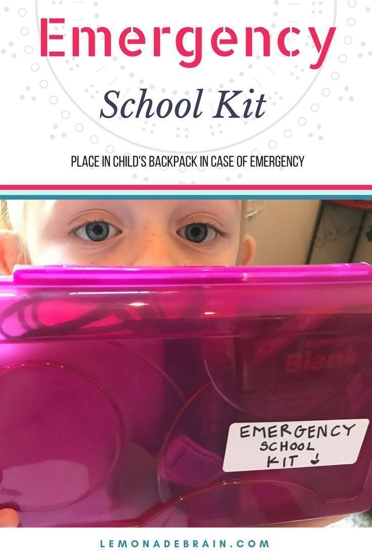 Emergency kit for school: A MUST have for all school age children! You won't regret packing this in their backpack. #EmergencyKit #School #Emergency #LifeHacks #Backpack #Prepared