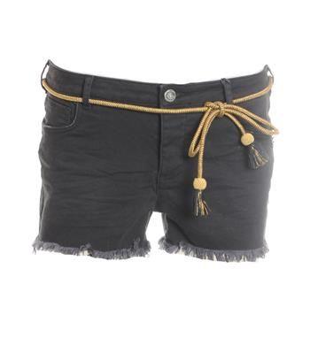 Maison Scotch short met gerafelde pijpjes en een goudkleurig koord in de taille. Deze korte broek in 5-pocket uitvoering heeft stretch voor een heerlijk draagcomfort - Zwart - NummerZestien.eu