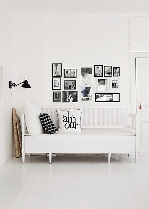 beautiful black & white... in photos & theory, I love rooms like this... in real life, I can't resist adding red or turquoise
