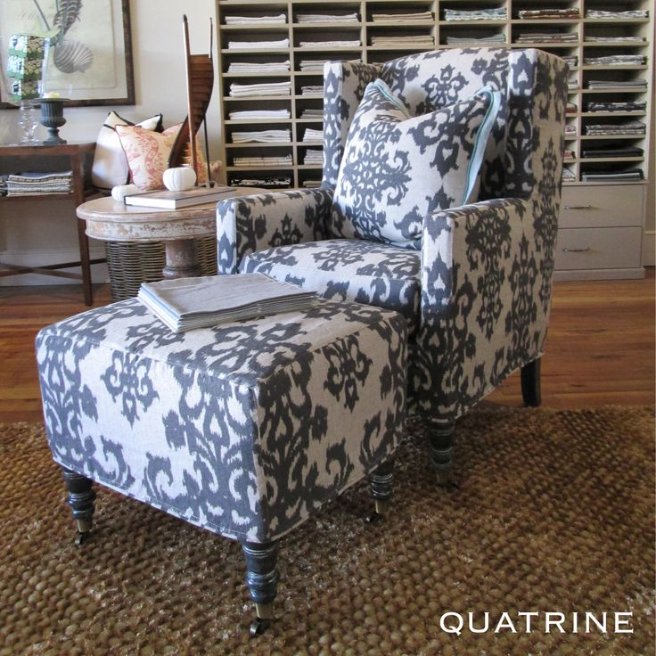 We Love This Statement Modern Wingback Chair With Matching Ottoman And  Pillow. Fabric Featured: