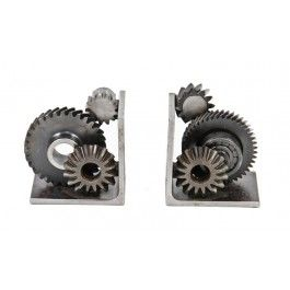 "matching set of repurposed american industrial ""machine age"" solid steel welded joint gear and/or sprocket bookends"