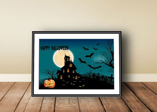Halloween, Digital download, instant download, printable art, Happy Halloween, Halloween print, Jack O' Lantern, haunted house, pumpkins - pinned by pin4etsy.com