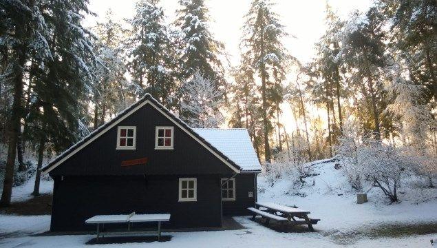 Groepsaccommodatie De Blokhut in de sneeuw, Ommen.