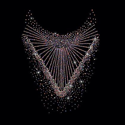 11x16  - AB DOUBLE NECKLINE - RHINESTONES - AB, ab stones, double neckline, neckline, rhinestones, stones, Material Transfer, Necklines