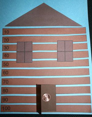Presidents Day activities: Lincoln's Log Cabin is a fun way for students to review skip counting by 10's or 5's.  Look closely at the photo and see that the logs are numbered.  FREE pattern.   A penny inside the door, adds the finishing touch, as Lincoln greets them when they open the flap.