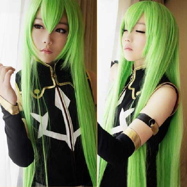 Code Geass R2 C.C. 100cm Long Green Mixed Anime Cosplay Heat Resistent Wig H03