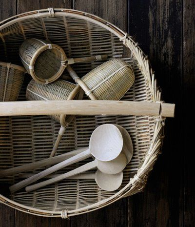 竹製 ざる・かご Japanese bamboo baskets.