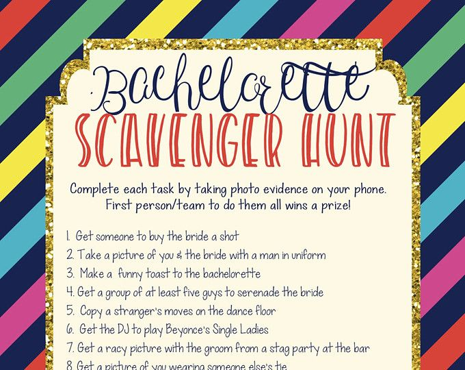 INSTANT DOWNLOAD Printable Bachelorette Scavenger Hunt Game Spade Inspired