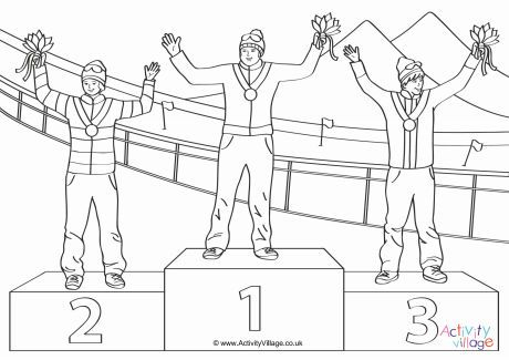 Winter Olympics medal winners colouring page