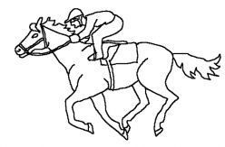 Thoroughbred Horses Galloping Horse Coloring Page of