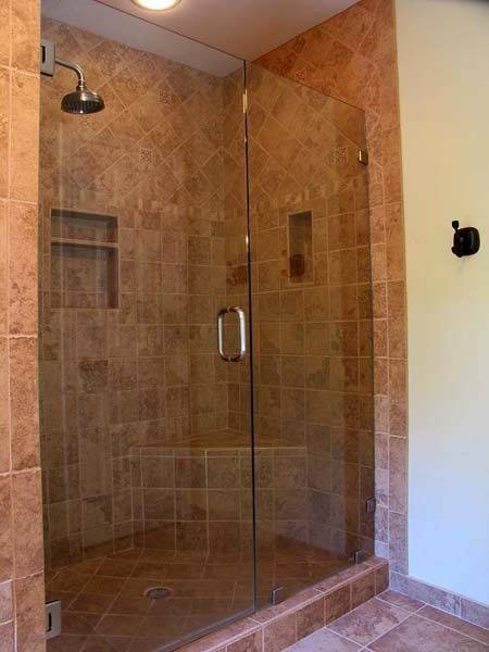 bathroom remodeling tile ideas. I like the earth tone tile better than white or cream.