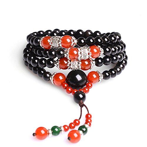 MR.TIE Men's Multilayer Tiger Eye Tibetan Buddhist Buddha Elastic Amulets Religious Link Bracelets Yoga Wrist Meditation Prayer Beads Wrap Bracelet Mala Cuff *** You can find out more details at the link of the image.