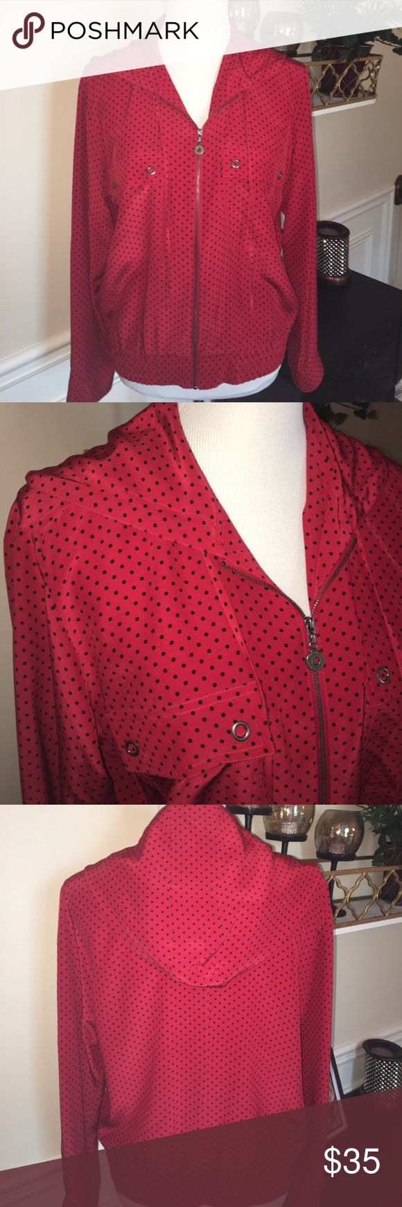 Chico's Design silk zip up hoodie sz 1 🌸 Chico's red and black polka dot zip hoodie. Front pockets with cute snaps.  Excellent condition never worn Chico's sz 1  fits 6/8 Chico's Jackets & Coats