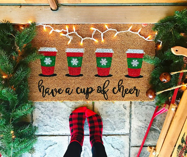 Kaylamakes.com DIY stenciled door mat with CAMEO. Christmas coffee, have a cup of cheer.