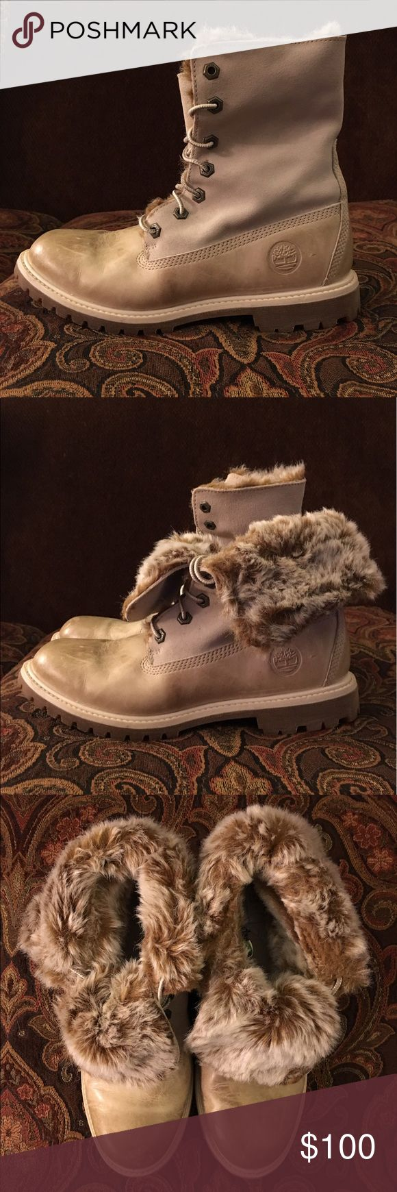 Timberland boots White leather Timberland fold-down winter boots. Faux fur detail. Excellent condition. Brand new, never worn. I am listing these because I don't plan to set foot in snow again! They can be worn laced all the way up or folded down. Open to offers. Timberland Shoes Winter & Rain Boots
