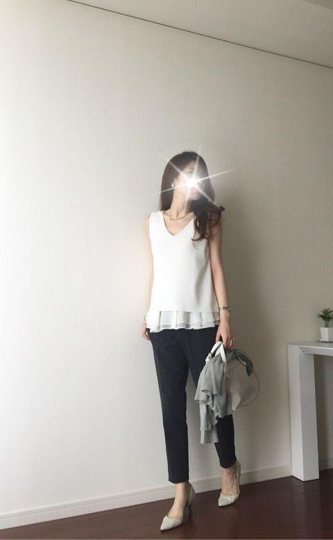 【coordinate】GUパンツでベージュ&ホワイトの優しげ配色コーデ の画像|Umy's☺︎ プチプラmixで大人のキレイめファッション