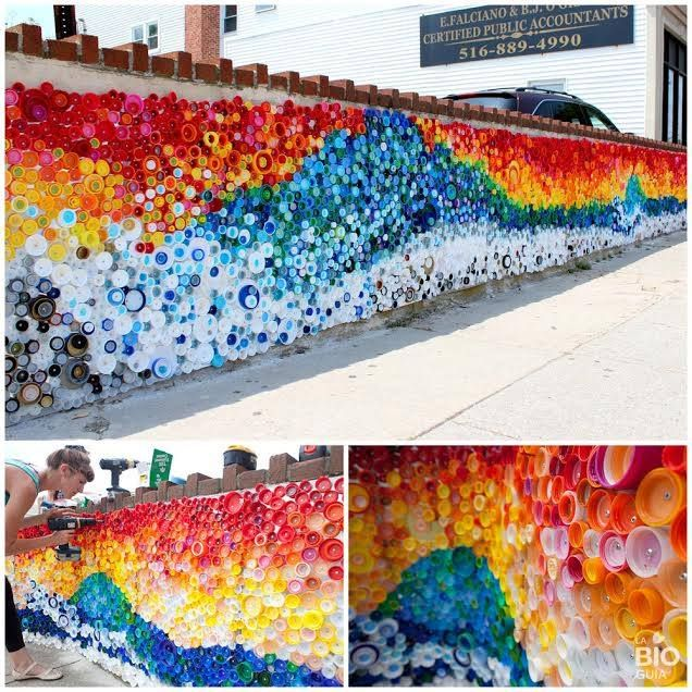 Colorful mural made with bottle caps