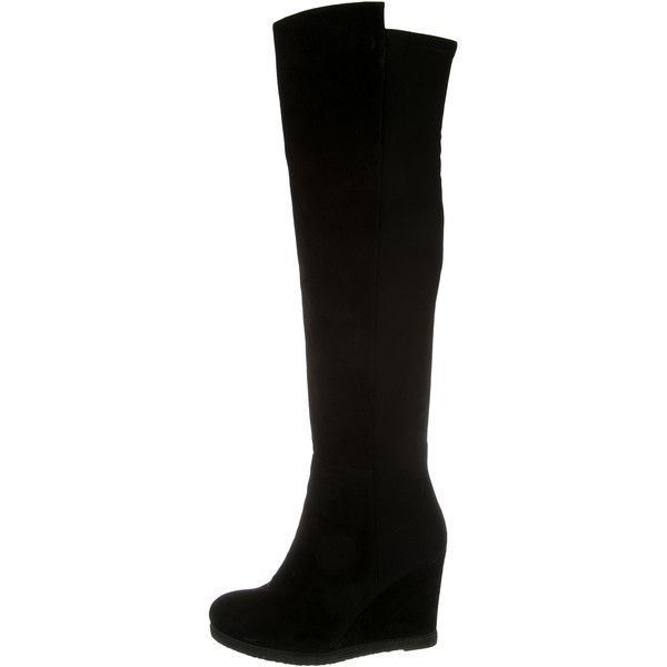 Pre-owned Stuart Weitzman Suede Knee-High Wedge Boots ($425) ❤ liked on Polyvore featuring shoes, boots, black, suede wedge boots, suede knee high wedge boots, black suede boots, black knee high boots and suede boots