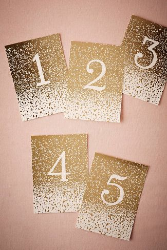 Gilded Letterpress Table Numbers (5) from BHLDN