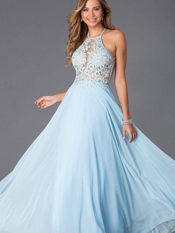 Chic robe de bal 2016 col rond longueur au sol bleu ciel for Robes de bal de plage robe de bal