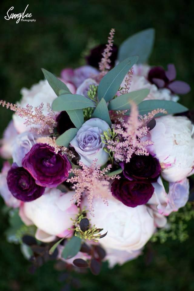 """Plum Perfect"" wedding bouquet includes blush peony, lavender rose, pink astilbe, dusty miller, seeded eucalyptus, bleeding heart amaranthus & loropetalum."
