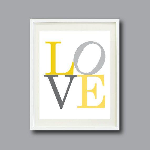 LOVE Art Print - 8x10 - Typography Print - Nursery, Kids Room, Home Decor, Living Room, Bedroom - Yellow and Grey/Gray OR Choose Colors